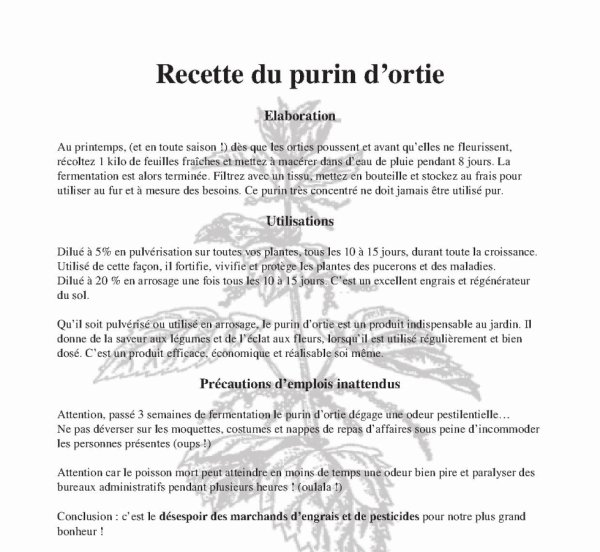Recette du purin d 39 ortie indi - Utilisation du purin d ortie ...
