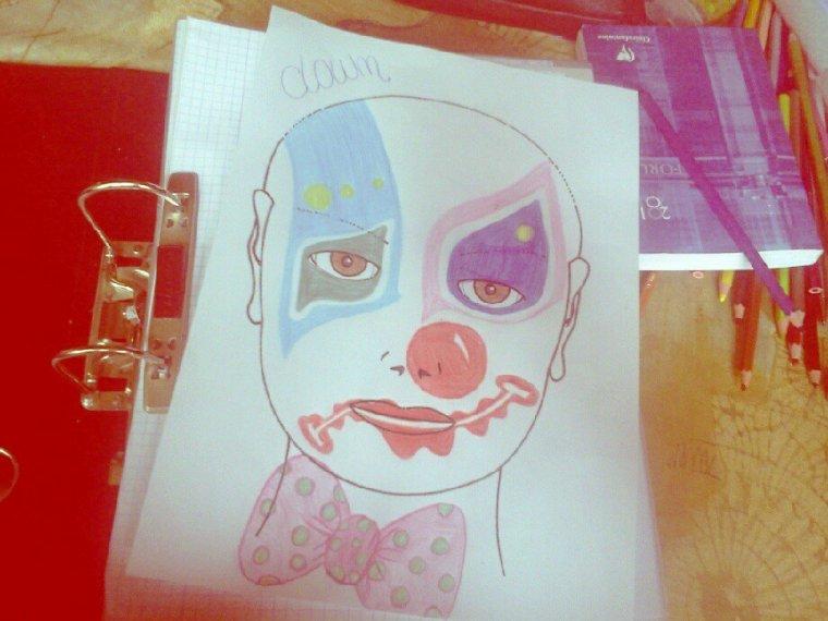 Projet clown =D pour mes cours <3 #grimage