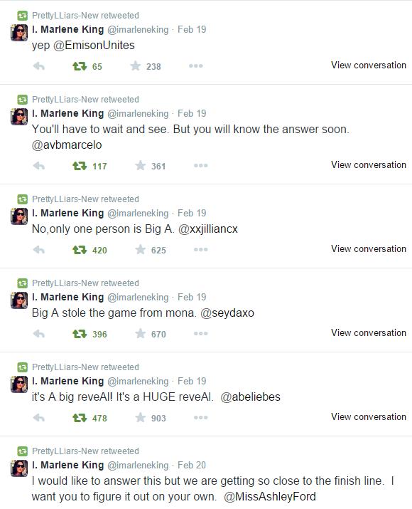 Tweets de Marlène King à propos de la fin de la saison 5 !