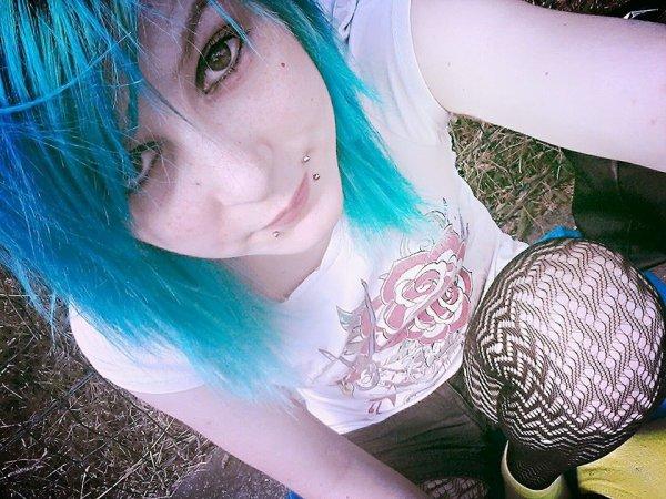 Blue hair.
