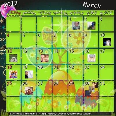 le calendrier de mon anniversaire