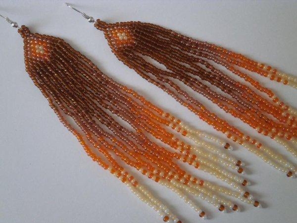 """Boucles d'oreilles """" longues """" en perles de rocailles"""