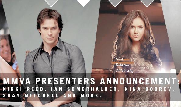 Nina et Ian Somerhalder seraient fiancés+Nina sera présente le 19 Juin au MuchMusic Videos Awards ainsi que sa co-star Ian Somerhalder +Une nouvelle photo de twitter+Un épisode oû Nina à parler en dans la série américaine Family Guy