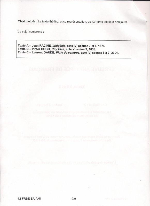 SUJET BAC 2012 : Épreuve Anticipée de Français Amérique du Nord