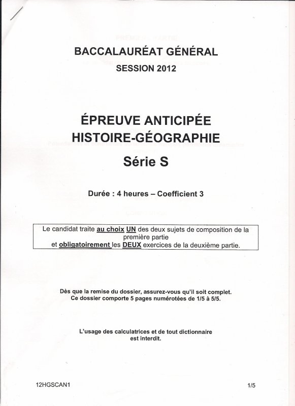 BAC HISTOIRE-GÉOGRAPHIE : Epreuve Anticipées Amérique du Nord 1ère Scientifique