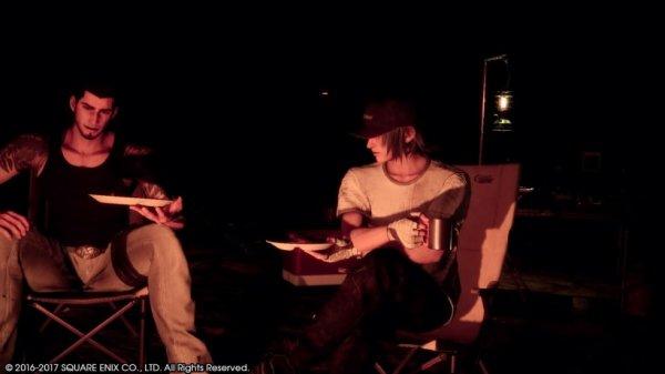 Ça va tranquille Gladio ? #Manspreading XD Noctis est très viril assis comme ça ^^