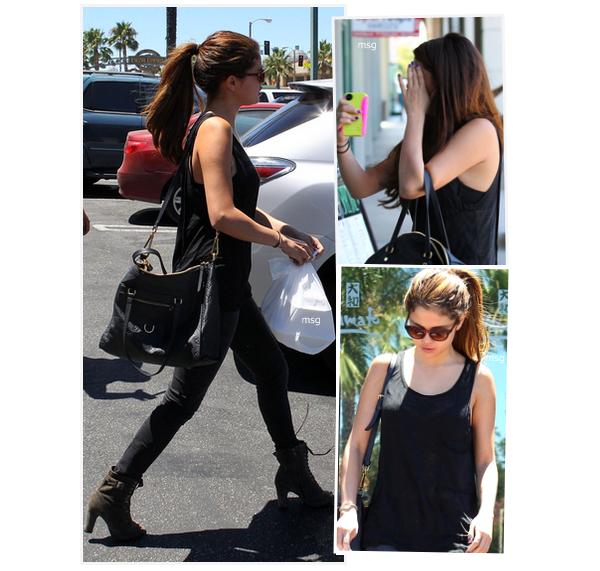 --7 juillet 2012 - Sely a été aperçue dans le quartier d'Encino (Los Angeles) prenant des sushis à emporter--