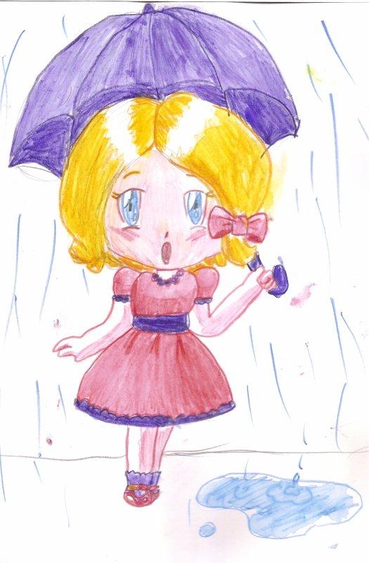 """Dessin chibi """"La petite fille au parapluie"""""""