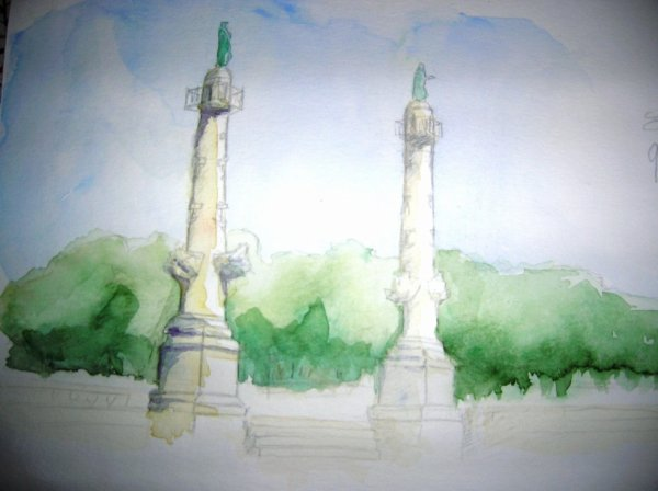 Aquarelles de monuments de Bordeaux