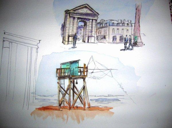 Aquarelles de monuments de Bordeaux : Victoire et Carlet