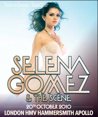 10/09_Selena Gomez,magnifique,sur l'affiche du concert à Londres