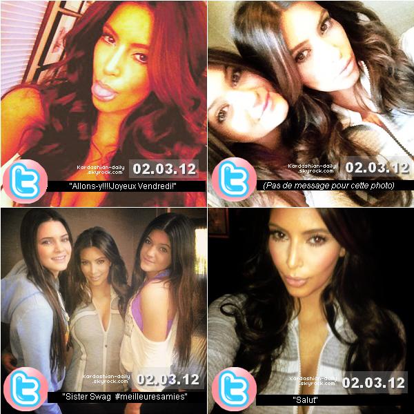 _ ►Twitter  : Quatre nouvelles photos postées par Kim K via son twitter officiel. Elle pose notamment avec ses deux sublimes demi-soeur Kendall et Kylie Jenner..  _