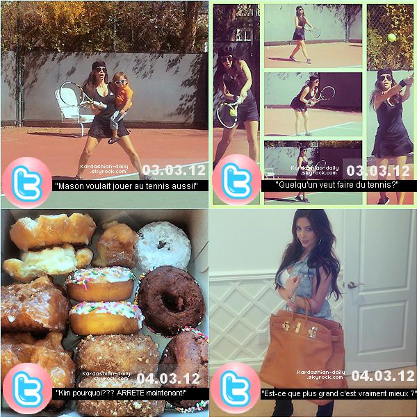 _ ►Twitter  : Nombreuses nouvelles photos postées par Kim K via son twitter officiel. La belle a posté des photos de ses armoires à chaussures, d'elle faisant du tennis, de nombreux donuts auxquels elle n'a pas su résister ou encore d'elle après s'être faite maquillée. Quelle photo préférez-vous? _