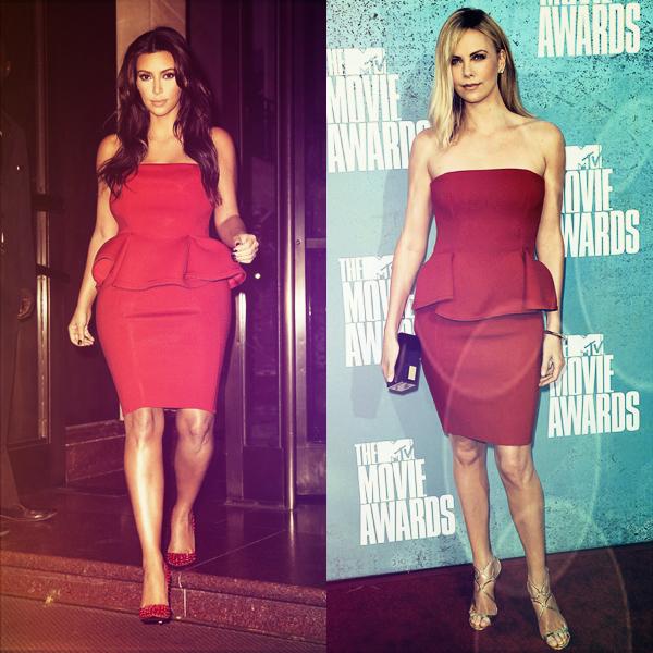 - ► KIM K & CHARLIZE THERON ONT CRAQUE POUR LA MEME ROBE LANVIN!  Kim a porté cette robe début septembre à New York City tandis que Charlize l'a porté lors des Movie Awards.  -