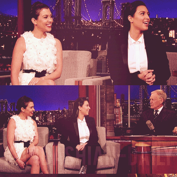 - ►16.01.13 : KIM SE RENDANT AU DAVID LETTERMAN SHOW A NEW-YORK. La belle était accompagnée de sa soeur Kourtney Kardashian pour promouvoir Kourtney & Kim Take Miami. -