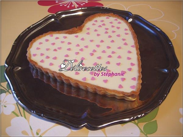 Tarte au chocolat blanc et à la fraise