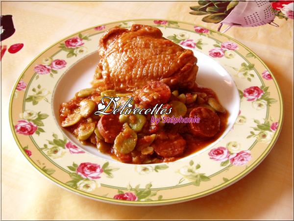 Poulet aux fèves et au chorizo