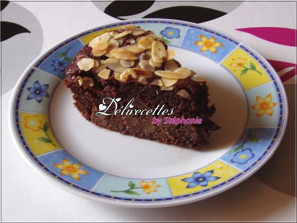 Gâteau au chocolat, poires et amandes