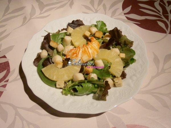 Salade de jeunes pousses à la langouste et aux st Jacques