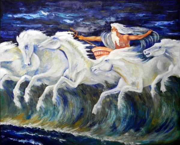les chevaux de Neptune (d'après Walter Crane)