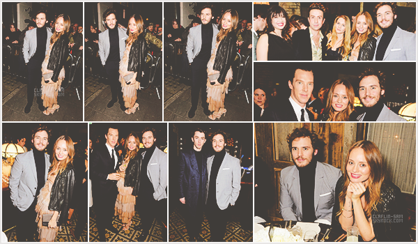"""_6 Février 2015 l Sam et sa femme Laura Haddock étaient présents au dîner """"Harvey Weinstein"""" _ Sam et sa femme sont vraiment magnifiques tous les deux. Quel beau couple ! J'aime son costard gris : ) . Qu'en pensez-vous ?"""