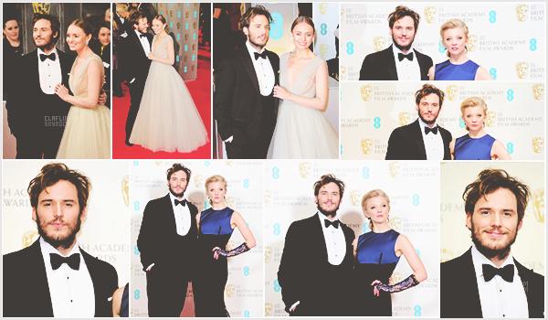 """_8 Février 2015 l Sam était présent à la cérémonie/soirée du """"EE British Academy Film Awards"""" _ Je trouve toujours le look de Sam au top niveau vestimentaire. Seul hic : coiffure décoiffée et cheveux en pétard. Qu'en pensez-vous ?"""