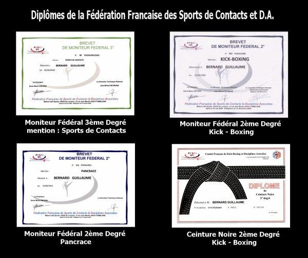 Diplômes Fédération Francaise des Sports de Contact & DA