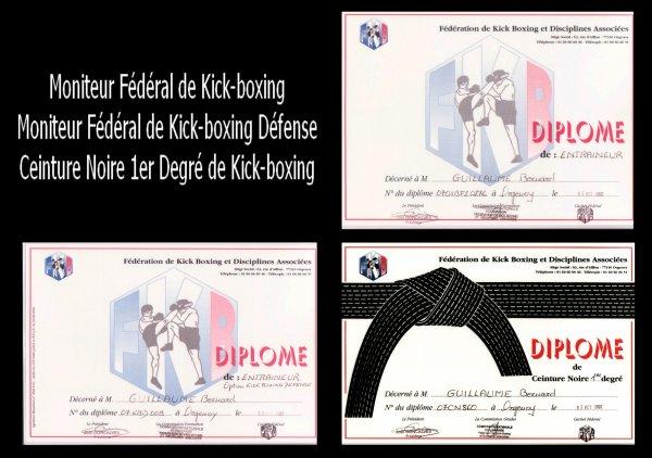 Diplômes Fédération Francaise de Kick Boxing & DA