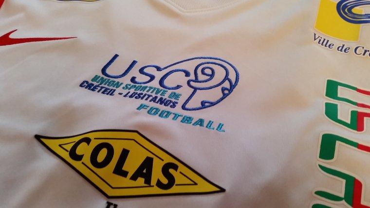 Maillot De l'US Créteil Lusitanos porté par Bamba Diarrassouba extérieur lors de la saison 2014/2015