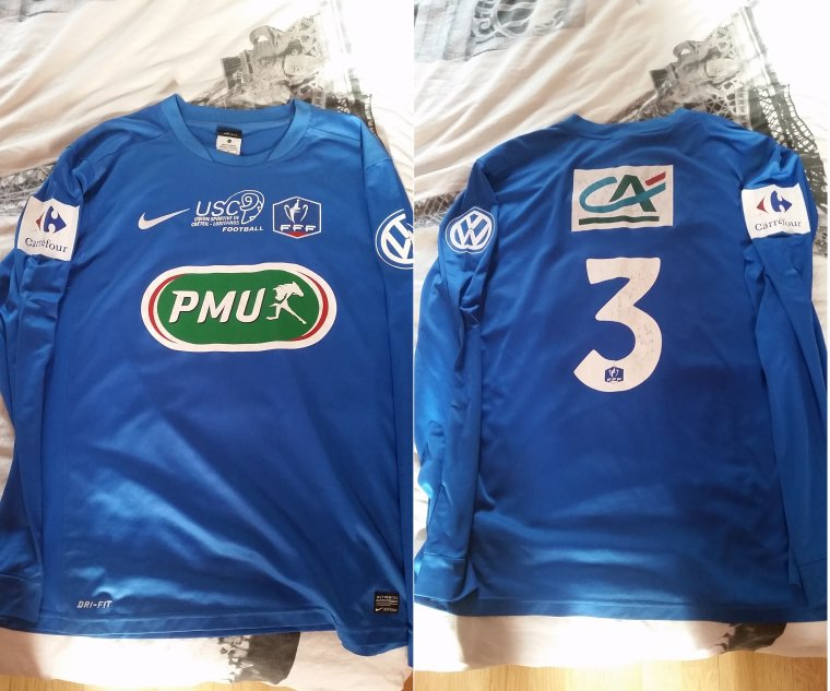 Maillot De l'US Créteil Lusitanos porté par Aurélien Montaroup domicile lors de la saison 2014 2015 en Coupe De France (contre Saint Maur)