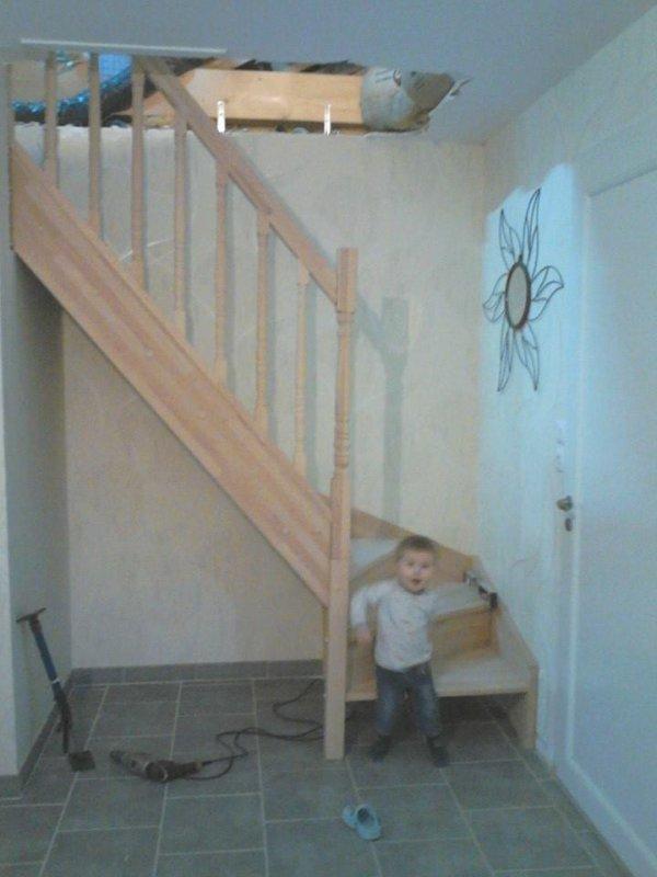 installation de l'escalier et plaquage (2 week end )