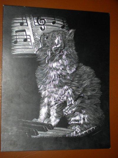 Essaie à la gravure avec un chat bien sur
