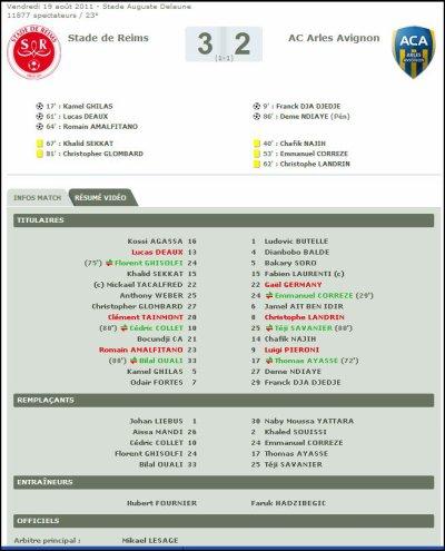 2011 Ligue 2 J04 : REIMS ARLES-AVIGNON 3-2, le 19 août 2011