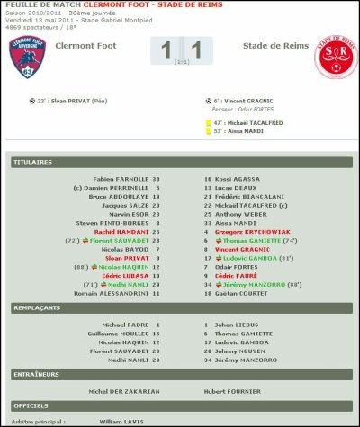 2010 Ligue 2 J36 CLERMONT REIMS 1-1 , le 13 mai 2011