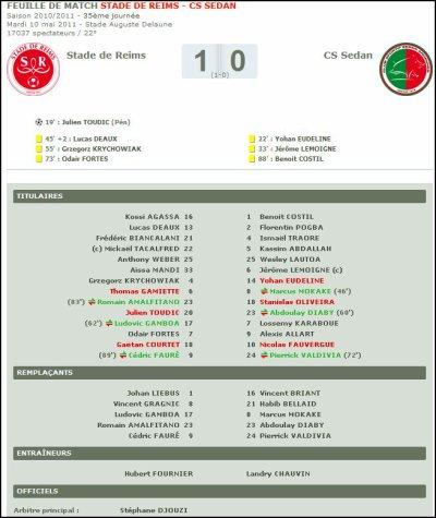 2010 Ligue 2 J35 REIMS SEDAN 1-0 , le 10 mai 2011