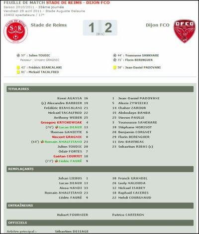 2010 Ligue 2 J33 REIMS DIJON 1-2 , le 29 avril 2011