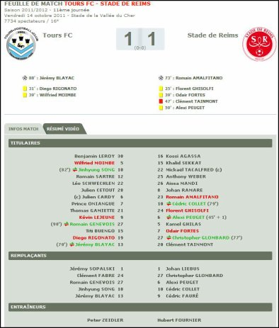 2011 Ligue 2 J11 : TOURS REIMS  1-1  , le 14 octobre 2011