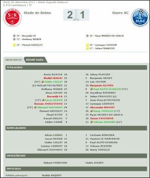 2011 Ligue 2 J18 REIMS LE HAVRE 2-1, le 20 décembre 2011