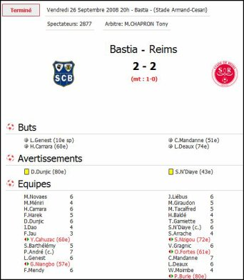 2008 Ligue 2 J08  BASTIA REIMS 2-2, le 26 septembre 2008