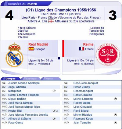 1955 CCC REAL MADRID REIMS 4-3 ,le 13 juin 1956