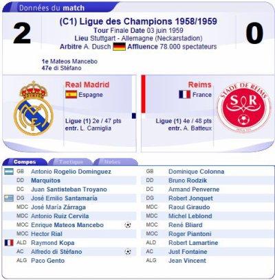 1958 CECC REAL MADRID REIMS 2-0, le 3 juin 1959