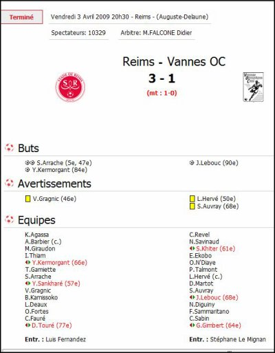 2008 Ligue 2 J30 REIMS VANNES 3-1 , le 3 avril 2009
