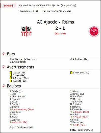 2008 Ligue 2 J20 AJACCIO Reims 2-1, le 16 janvier 2009