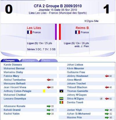 2009 CFA2 J16 LES LILAS REIMS B , le 6 février 2010