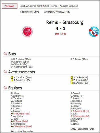 2008 Ligue 2 J19 REIMS STRASBOURG 4-1, le 22 janvier 2009