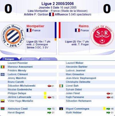 2005 Ligue 2 J08 MONTPELLIER REIMS 0-0, le  16 septembre 2005