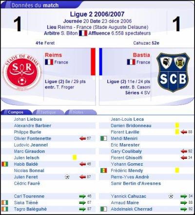 2006 Ligue 2 J20 REIMS BASTIA 1-1, le 23 décembre 2006