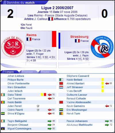 2006 Ligue 2 J15 REIMS STRASBOURG 2-0, le 7 novembre 2006