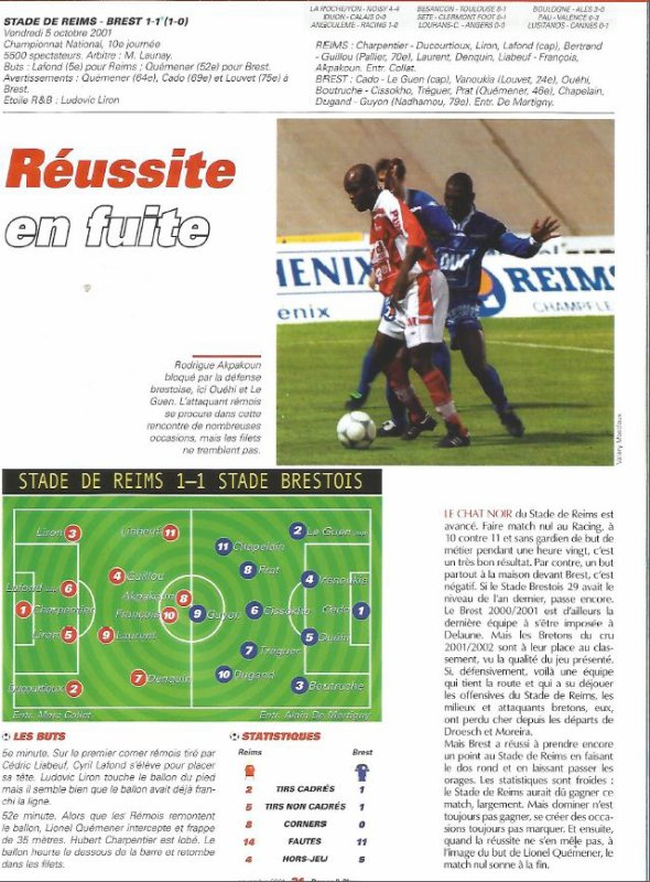 2001 NAT J10 REIMS BREST 1-1 ,le 5 octobre 2001