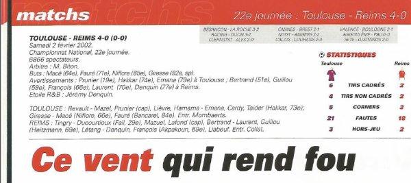 2001 NAT J22 TOULOUSE REIMS 4-0, le 2 février 2002